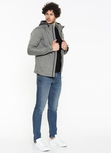 Mavi Kapüşonlu Ceket Gri